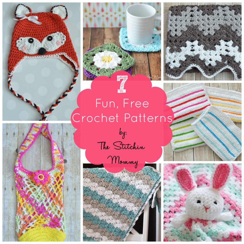 7 Fun, Free Crochet Patterns by The Stitchin' Mommy www.thestitchinmommy.com